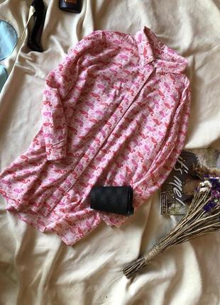 Блузка , блуза с розовыми фламинго , розовая блузка от stradiv...