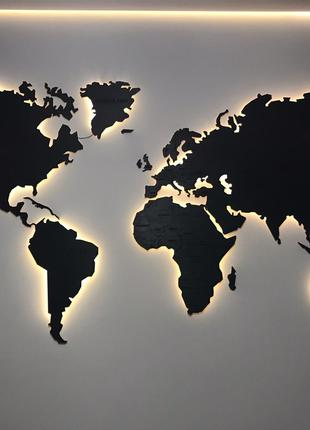 Карта Мира из дерева с подсветкой, деревянная карта Мира