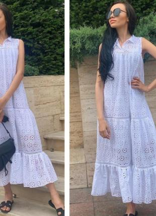 Длинное  красивое платье из прошвы