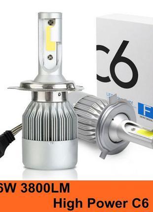 ГАРАНТИЯ! LED Светодиодные авто-лампы C6 H1 H3. H4, H7, H11 38...