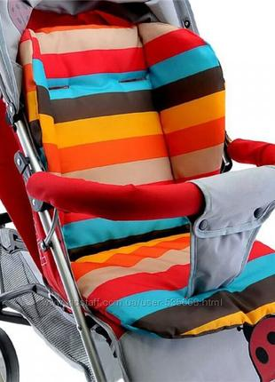 Двусторонний моющийся матрасик вкладыш в коляску, стульчик