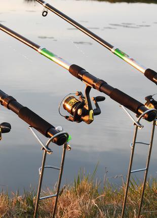 Спиннинги в Сборе 3 шт Набор Спиннинги с катушками на карася Gold