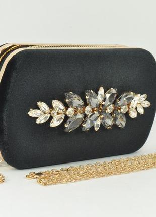 Бархатный клатч rose heart 010 черный, сумочка на цепочке