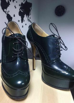 Ботильоны ботинки высокий каблук брендовая обувь кожа