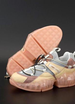 Jimmy choo diamond trail pink   женские стильные кроссовки