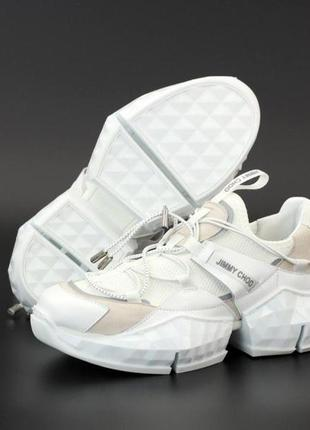 Jimmy choo diamond trail white женские стильные кроссовки
