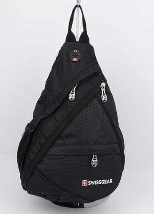 Рюкзак слинг через плечо swissgear 1007 черный с выходом для н...
