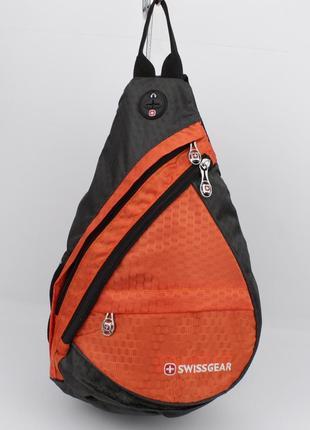 Рюкзак слинг через плечо swissgear 1007 оранжевый с выходом дл...