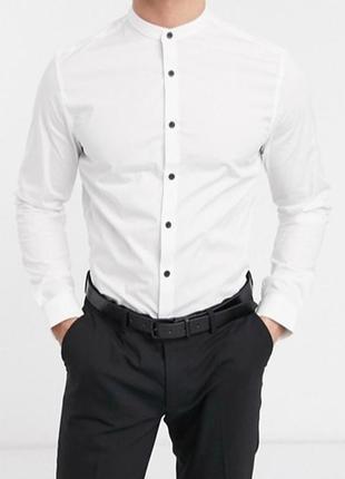 Мужская белая рубашка воротник стойка ( без воротника сорочка )