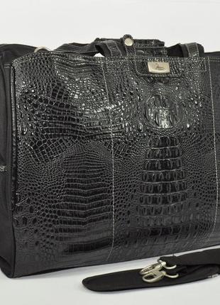Дорожная сумка, саквояж refiand 88723 a черный кроко