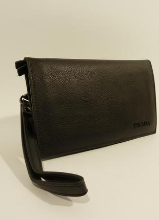 Мужской кожаный клатч, портмоне  черный, расцветки в наличии