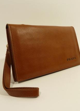 Мужской кожаный клатч, портмоне светло-коричневый, расцветки в...