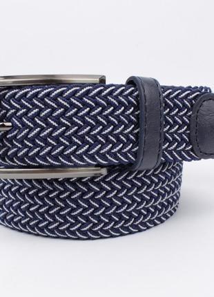 Плетеный ремень резинка alon 4900-105 синий меланж , ширина 35 мм