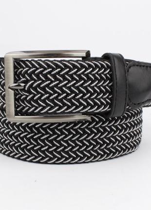 Плетеный ремень резинка alon 4900-111 черный меланж, ширина 35 мм