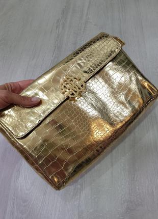 Большая золотая косметичка клатч roberto cavalli parfums