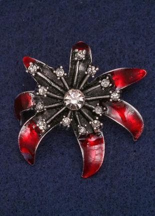 Брошь цветок с красной эмалью