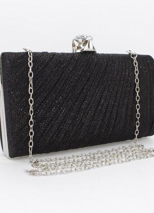 Вечерний клатч rose heart 21570 черный, сумочка на цепочке