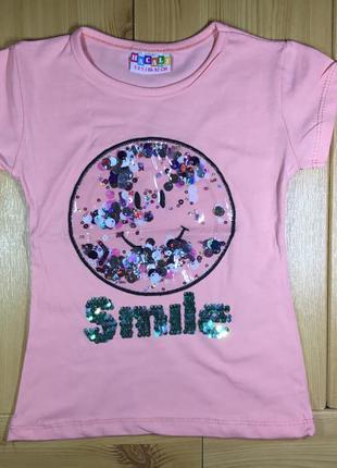 Детская футболка пайетки рр. 86-128 смайл девочке beebaby (биб...