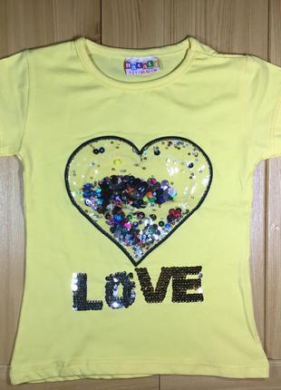 Детская футболка пайетки рр. 86-128 сердце девочке beebaby (би...