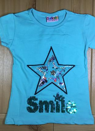 Детская футболка пайетки рр. 86-128 звезда девочке beebaby (би...
