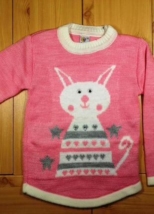 Детский свитер для девочки рр. 116-134 кот beebaby (бибеби)