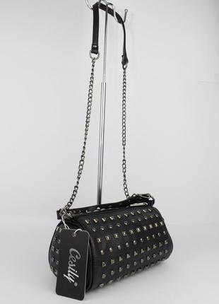 Стильная сумочка с заклепками cesily 8190 черная, италия