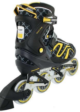 Роликовые коньки Nils Extreme черно-желтые Size 41