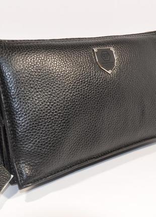 Мужской кожаный клатч, сумочка  0189-1 черная