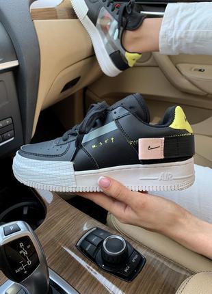Nike air force 1 type n.354 black женские стильные кроссовки