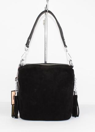 Маленькая замшевая сумочка через плечо valensiy 20715-1a черная