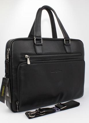 Кожаный портфель, сумка для документов, папка 6619-3, 39*30*9 см