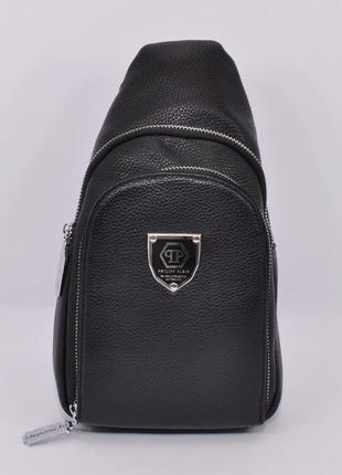 Кожаная сумка-слинг через плечо, бананка  826 черная