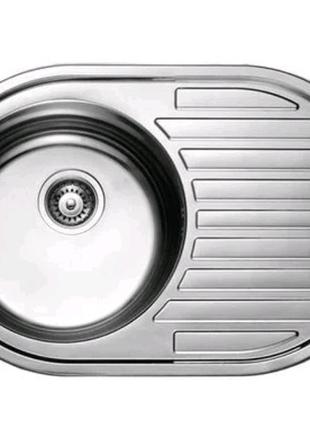 7108 Мийка CRISTAL кругла з полицею врізна 770x500х180 SATIN