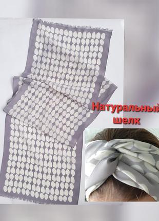 Шелковый шарф в горошек повязка на голову горох натуральный шелк