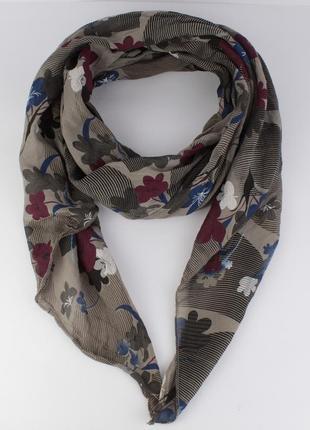 Итальянский шарф girandola 0001-62 серый с цветочным принтом, ...