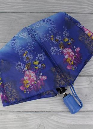 Женский складной зонт полуавтомат star rain 507 синий, принт ц...
