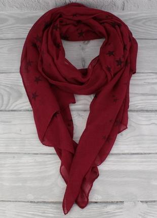 Легкий шарф, палантин butef 0005-2 марсала в звезды, вискоза