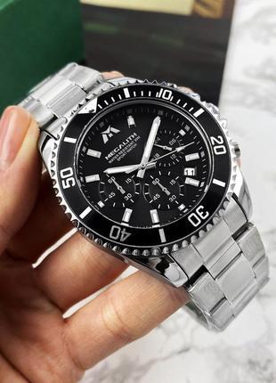 Оригинальные мужские наручные часы Megalith 8046M Silver-Black