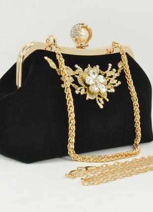 Велюровый клатч rose heart 1752 черный, сумочка на цепочке