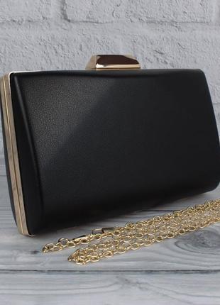 Вечерний клатч rose heart 6988 черный, сумочка на цепочке