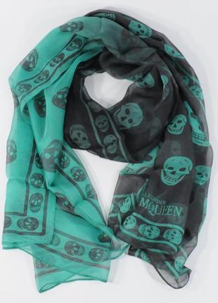Шифоновый шарф alexander mcqueen  черно-зеленый