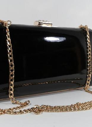 Вечерний черный лаковый клатч rose heart 8119, сумочка на цепочке