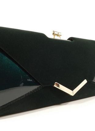 Вечерний клатч темно-зеленый велюр/лак, сумочка rose heart 002...