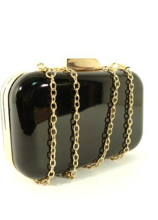 Вечерний лаковый мини-клатч, сумочка на цепочке rose heart 902...