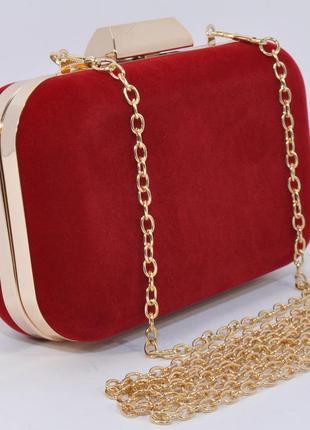 Вечерний велюровый красный мини-клатч, сумочка на цепочке rose...