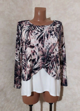 Необычная качественная трикотажная блуза реглан, saloos, xl