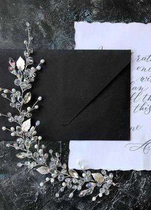 Свадебное украшение для волос, веточка в прическу, украшение