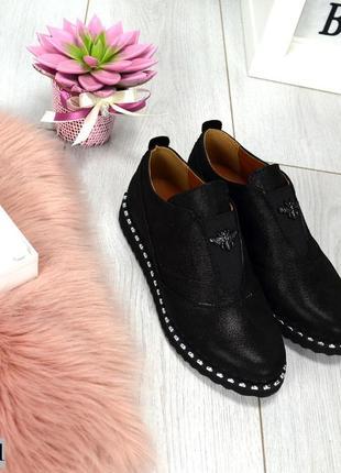 Закрытые кожаные туфли на осень