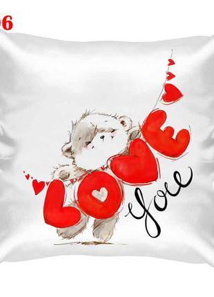 Подушка атласная love you