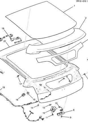 Стекло заднее двери багажника нижнее Chevrolet Volt 11-15 2282768